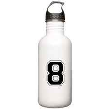 Varsity Font Number 8 Black Water Bottle