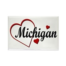 Love Michigan Hearts Rectangle Magnet (10 pack)