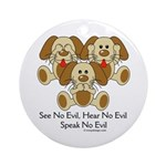 No Evil Puppies Ornament (Round)