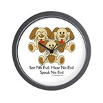 No Evil Puppies Wall Clock