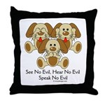 No Evil Puppies Throw Pillow