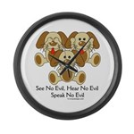 No Evil Puppies Large Wall Clock