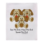 No Evil Puppies Throw Blanket