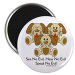 No Evil Puppies Magnet