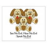 No Evil Puppies Small Poster