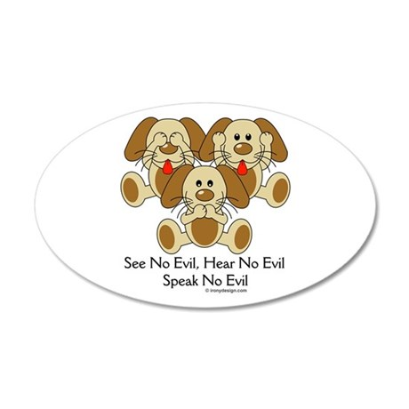 No Evil Puppies 20x12 Oval Wall Decal