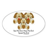 No Evil Puppies Sticker (Oval 50 pk)