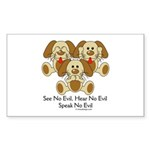 No Evil Puppies Sticker (Rectangle 10 pk)