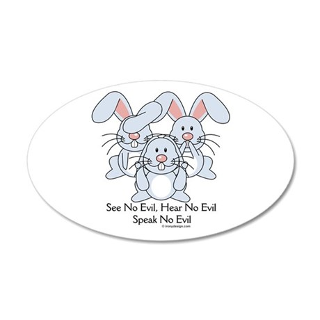 No Evil Bunnies 20x12 Oval Wall Decal