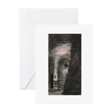 Conte Crayon Drawing Portrait Greeting Card