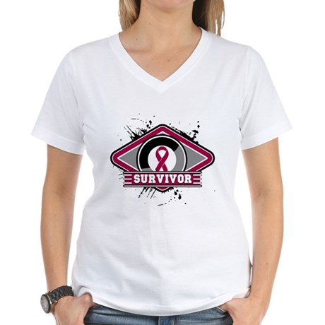 Multiple Myeloma Survivor Women's V-Neck T-Shirt