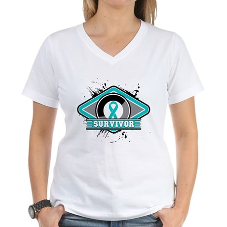 Ovarian Cancer Survivor Women's V-Neck T-Shirt