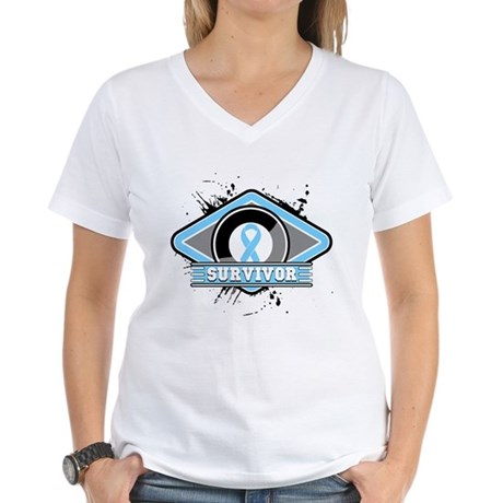 Prostate Cancer Survivor Women's V-Neck T-Shirt