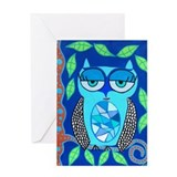 Funny Blue owl art Greeting Card