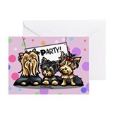 Yorkie Party Happy Birthday Greeting Cards (Pk of