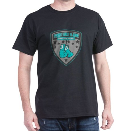 Ovarian Cancer Fight Badge Dark T-Shirt
