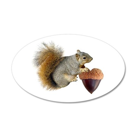 Squirrel Acorn Heart 22x14 Oval Wall Peel