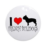 I Heart/Love French Bulldogs Ornament (Round)