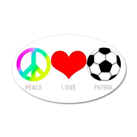 Peace Love Futbol 38.5 x 24.5 Oval Wall Peel