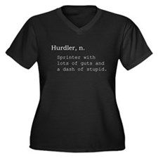 Hurdler Women's Plus Size V-Neck Dark T-Shirt