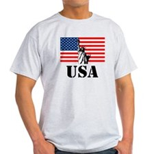 Statue of Liberty, US Flag T-Shirt