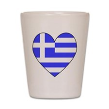 Greek Flag Heart Shot Glass