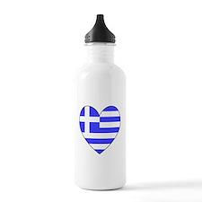 Greek Flag Heart Water Bottle