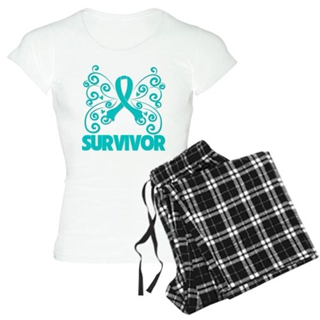 Ovarian Cancer Butterfly Women's Light Pajamas