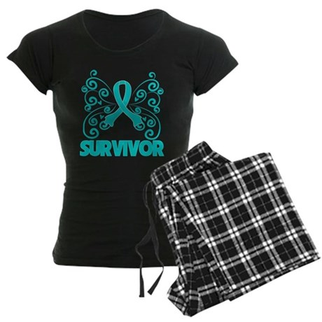 Ovarian Cancer Butterfly Women's Dark Pajamas