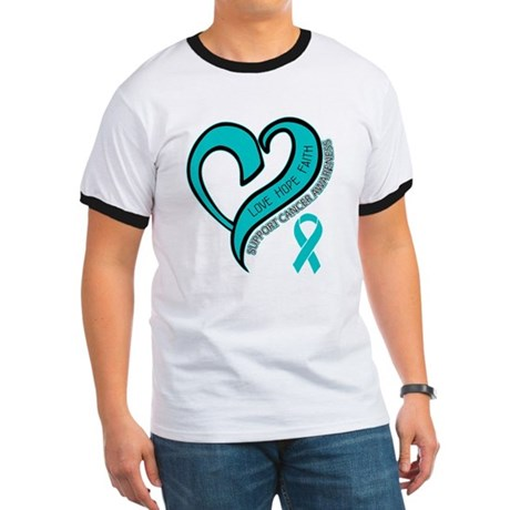 Ovarian Cancer Love Faith Ringer T