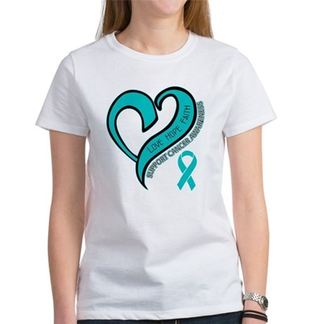 Ovarian Cancer Love Faith Women's T-Shirt