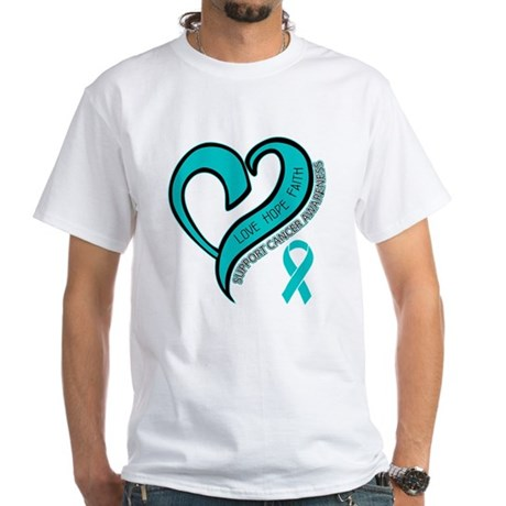 Ovarian Cancer Love Faith White T-Shirt