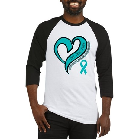 Ovarian Cancer Love Faith Baseball Jersey