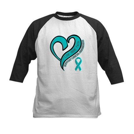 Ovarian Cancer Love Faith Kids Baseball Jersey