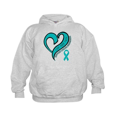 Ovarian Cancer Love Faith Kids Hoodie
