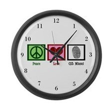 Peace Love CSI: Miami Large Wall Clock