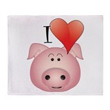 Funny Pig Throw Blanket