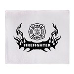 Fire Dept Firefighter Tattoos Throw Blanket