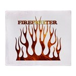 Firefighter Tribal Flames Throw Blanket