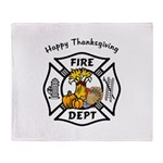 Thanksgiving Firefighter Throw Blanket