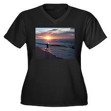 Serene Moment Women's Plus Size V-Neck Dark T-Shir