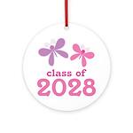 2028 Girls Graduation Ornament (Round)