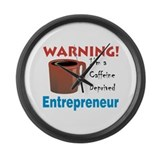 Caffeine Deprived Entrepreneur Large Wall Clock