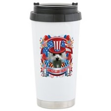 American Pride Maltese Ceramic Travel Mug