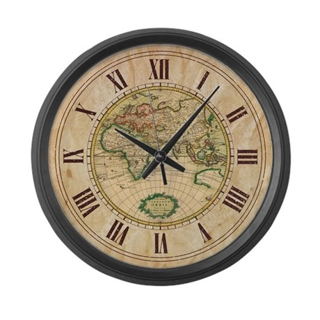Vintage Map Large Wall Clock By Plasmax