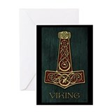 Thor's hammer Red - Viking Bl Greeting Card