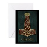 Thor's hammer Red - Viking Bl Greeting Cards (Pk o