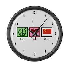 Peace Love China Large Wall Clock