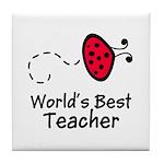 Ladybug Teacher Tile Coaster