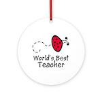 Ladybug Teacher Ornament (Round)
